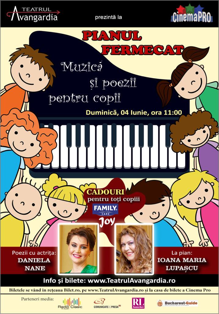 Pianul fermecat - aparent o poveste, în realitate un spectacol poveste, de interes pentru copiii iubitori de muzică și poezie. Duminică, 4 iunie,
